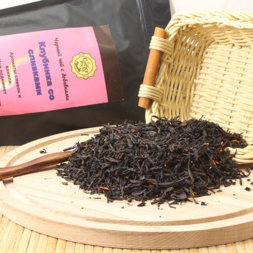 Клубника со сливками (черный чай с добавками)
