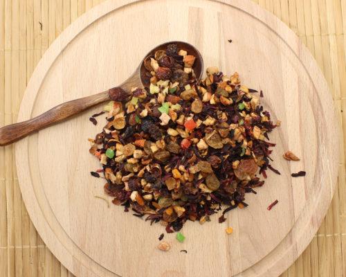 фруктовый чай Изысканный фрукт Лепестки гибискуса, ананас, изюм, яблоко, папайя. Ароматизирован натуральными маслами.